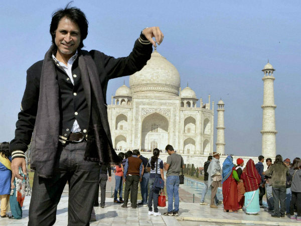 A file photo of Ramiz Raja at the Taj Mahal in Agra