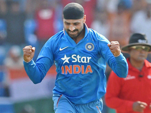 Harbhajan celebrates after dismissing South African batsman David Miller during their third ODI match in Rajkot on October 18