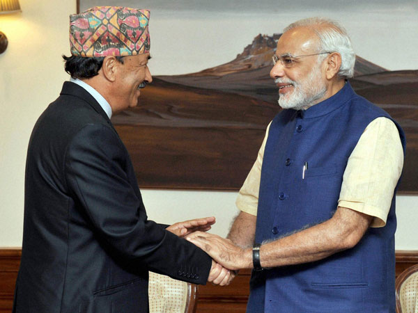 Prime Minister Narendra Modi with Nepal's Deputy Prime Minister and Foreign Minister Kamal Thapa during a meeting in New Delhi.