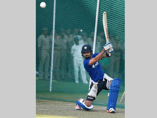 A file picture of Virat Kohli batting in the nets
