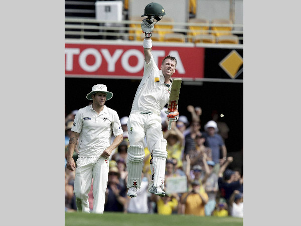 David Warner hit a record-equalling century at the Gabba