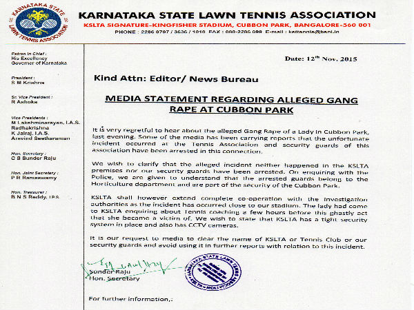 Tennis Association's official statement