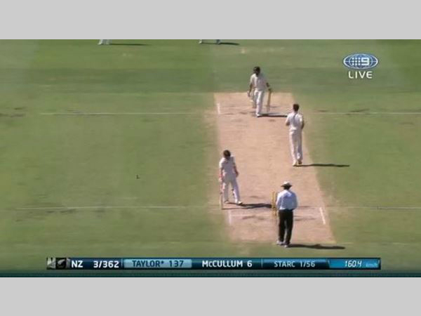 Starc's speed is captured, on TV (right corner). Photo from Cricket Australia's Twitter account