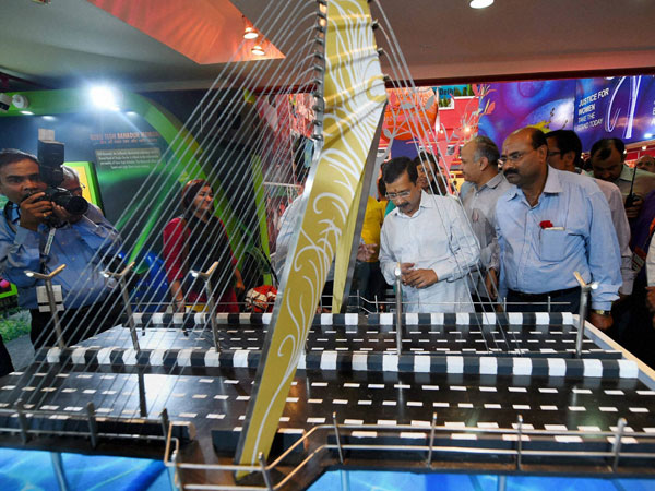Delhi Chief Minister Arvind Kejriwal during inauguration of the Delhi Pavilion at the 35th India International Trade Fair (IITF-2015) at Pragati Maidan in New Delhi on Saturday.