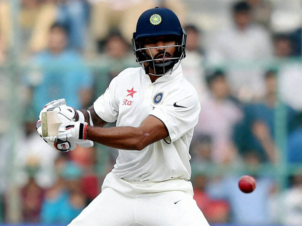 Shikhar Dhawan plays a shot in 2nd Test in Bengaluru