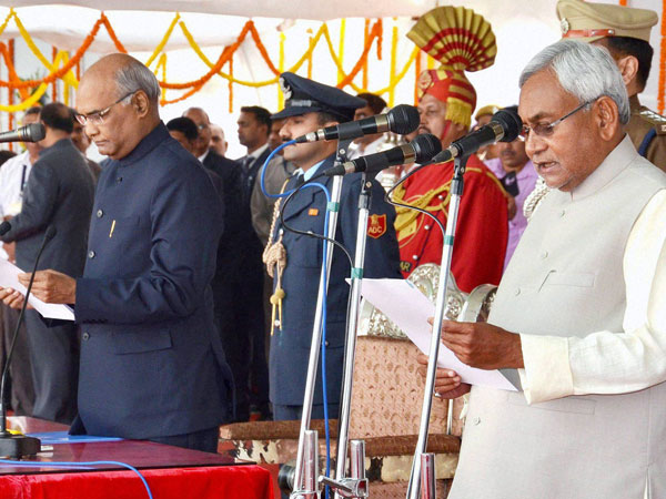 Nitish Kumar is sworn-in as the Chief Minister of Bihar by the Governor Ram Nath Kovind during a ceremony at Gandhi Maidan in Patna.