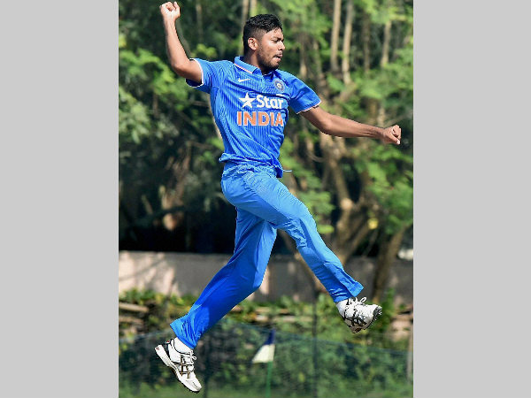 Avesh Khan celebrates a wicket aganist Bangladesh