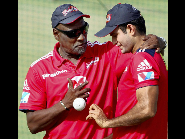 Irfan (right) with West Indian batting legend Viv Richards