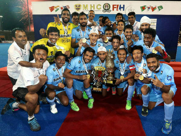 File photo: Indian juniors with the Asia Cup trophy in November 2015