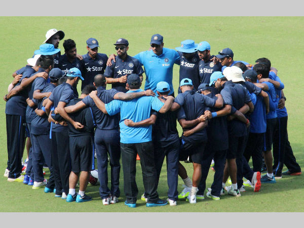 Indian team is in a huddle during a practice session in Nagpur on Monday (November 23) ahead of the 3rd Test