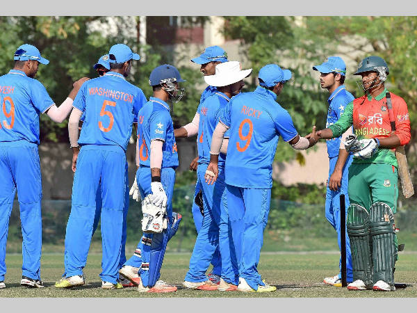 File photo: India U-19 players celebrate win over Bangladesh in Tri-series opener in Kolkata on Friday (November 20)
