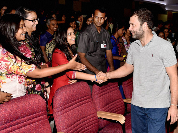 Rahul Gandhi interacts with students at Mount Carmel College in Bengaluru