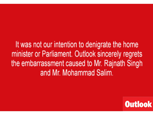 'Outlook' magazine admits to quoting Rajnath Singh