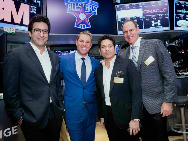 File photo: Matthew Hayden (right) is seen with Wasim Akram (left), Shane Warne (2nd left) and Sachin Tendulkar at New York Stock Exchange in New York on November 7, 2015