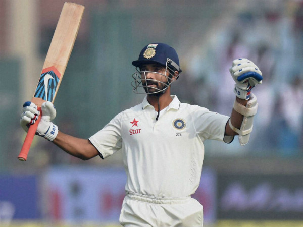 Rahane celebrates his 2nd ton in the match