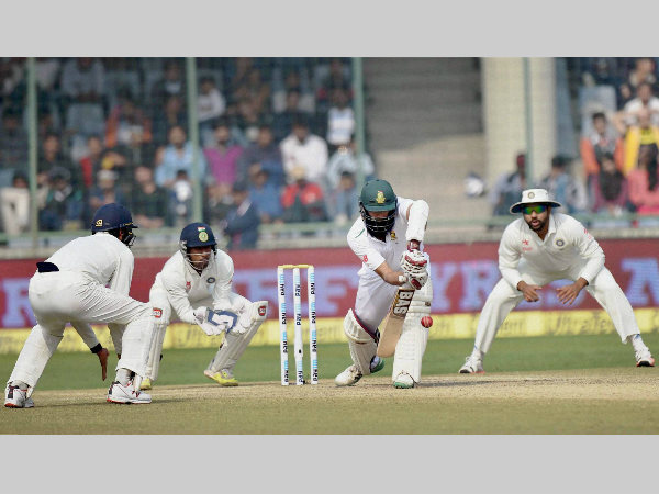 Hashim Amla blocks a ball during Delhi Test