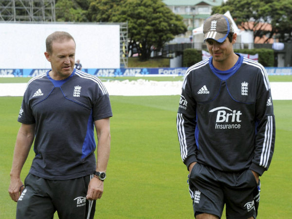 File photo: Andy Flower (left) with England Test captain Alastair Cook