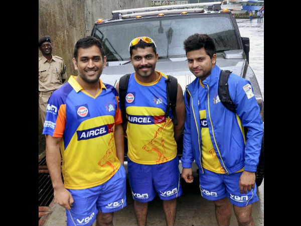 File photo: Dhoni (left) and Raina (right) with Jadeja in CSK colours during IPL