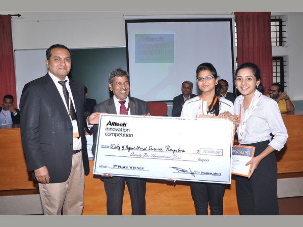 From left to right: Dr. Aman Sayed, general manager South Asia, Alltech, and Dr. H. Shivanna, vice chancellor, UAS GKVK, felicitating runner-ups  of the Alltech Innovation Competition 2015 from University of Agricultural Sciences, Bengaluru.