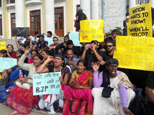Protest by Bengaluru activists against the rejection of bill to decriminalise gay sex at Town Hall