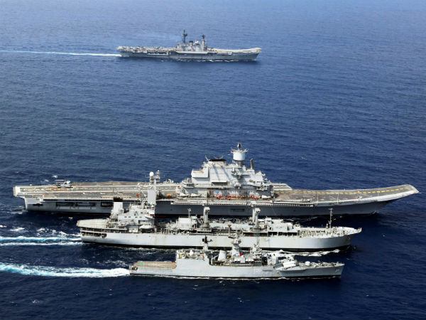 INS Godavari with the Western Fleet operating with two aircraft carriers.