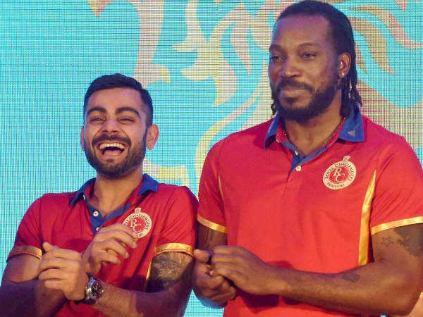 Virat Kohli (left) and Chris Gayle have been retained by RCB