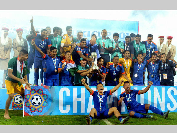 Indian team celebrating after winning SAFF title recently