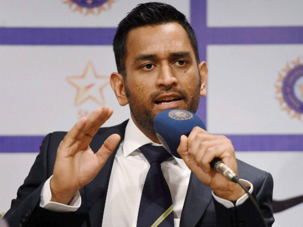 Dhoni speaks during a press conference in Mumbai on Tuesday before the Indian team's departure to Australia