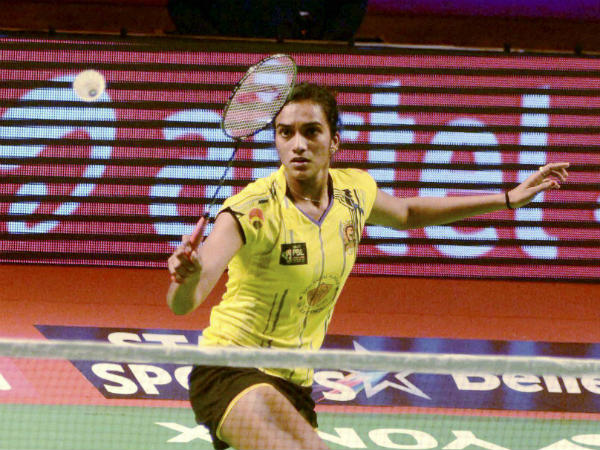 PV Sindhu of Chennai Smashers in action against PC Thulasi of Delhi Acers