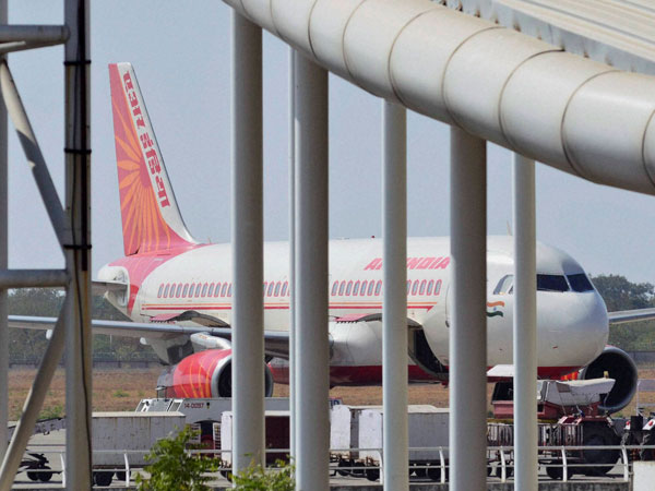Air India flight from New Delhi to Bhopal parked at Raja Bhoj Airport after a tyre of the plane burst during landing, in Bhopal.