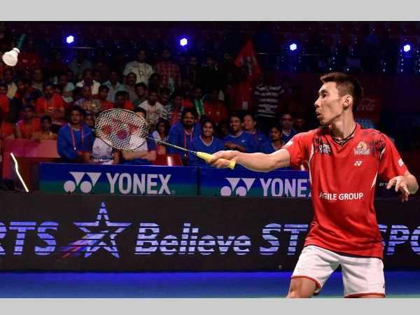 Lee Chong Wei of Hyderabad Hunters plays a shot against Tanongsak S of Awadhe Warriors. Lee won