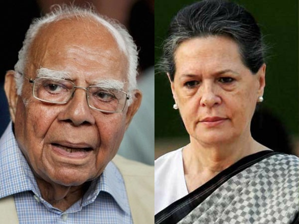 Jethmalani withdrew offer to Sonia
