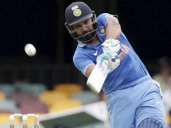 Rohit Sharma plays a shot on way to 124