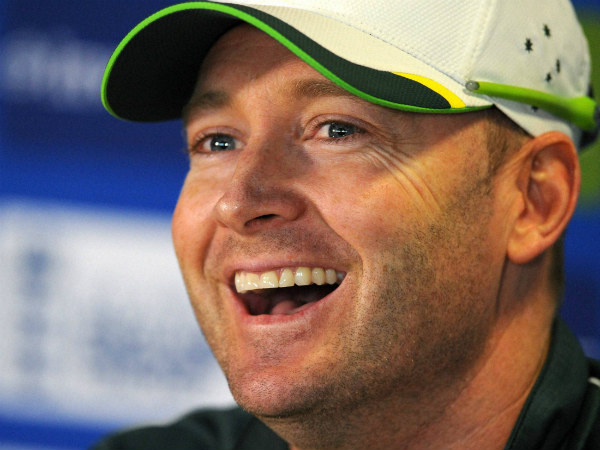 Michael Clarke saw the funny side of his name appearing on the scoreboard