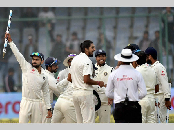File photo: India captain Virat Kohli (left) and his team-mates celebrate after their 3-0 series win against South Africa last month in Delhi