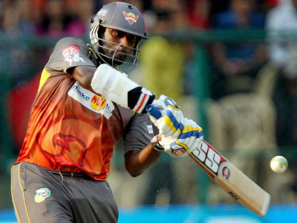 A file picture of Thisara Perera batting for Sunrisers Hyderabad in IPL