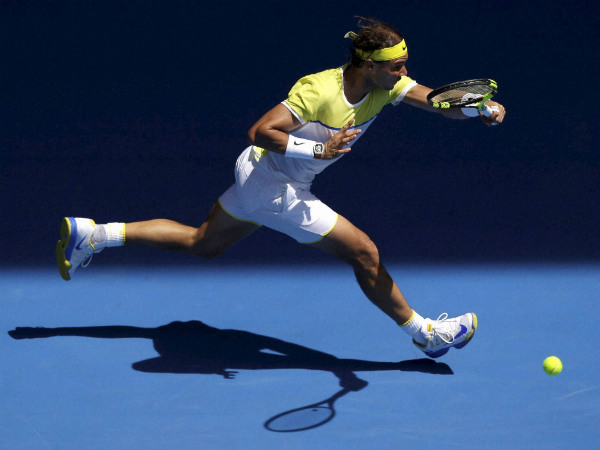 Nadal hits a return to Verdasco during their first round match at the Australian Open