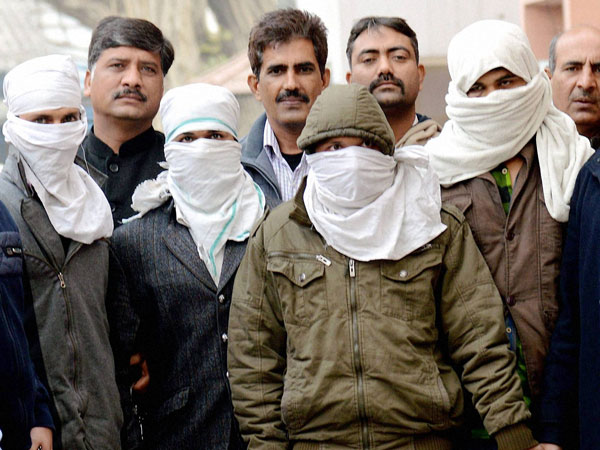 Delhi Police's special cell showing to media the four terror suspects who were arrested from Haridwar, in New Delhi.
