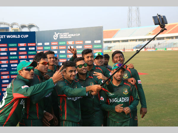 Bangladesh players take a selfie as they celebrate their win over South Africa. Pictures: ICC