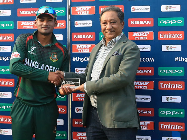 Bangladesh's Najmul Hasan Shanto receives Man-of-the-Match award