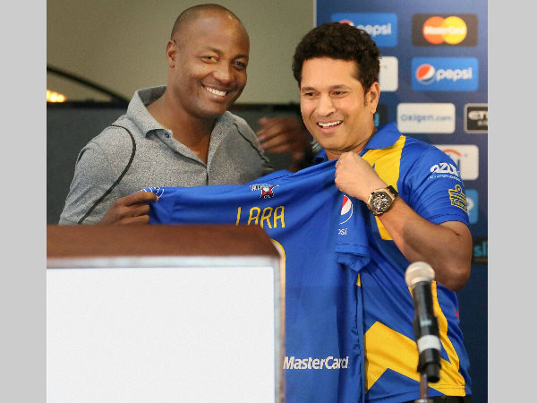 Lara (left) and Tendulkar during All Stars tournament last year