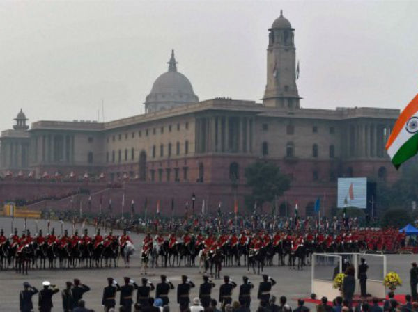 A view during the National Anthem at the Beating Retreat ceremony
