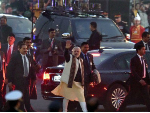 PM Modi leaving after Beating Retreat ceremony