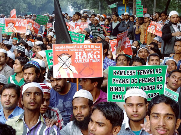 All India Majlis-E-Ittehadul Muslimeen (MIM) supporters taking out a protest rally against Hindu Mahasabha leader Kamlesh Tiwari over his remarks against Prophet Muhammad in New Delhi