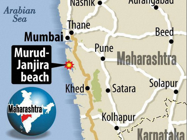 Location of the Murud Janjira beach in Raigad