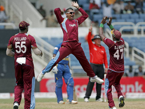 A file picture of Sunil Narine (centre) celebrating a wicket
