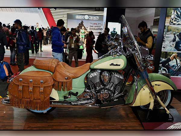 A fancy motorbike on display at Auto Expo