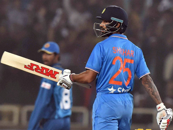 Shikhar Dhawan celebrates his maiden T20I half century in Ranchi