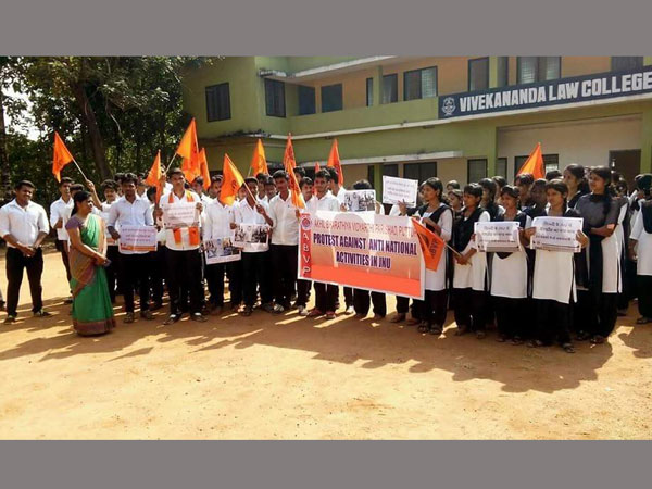 ABVP protesting against alleged anti-national activities in JNU