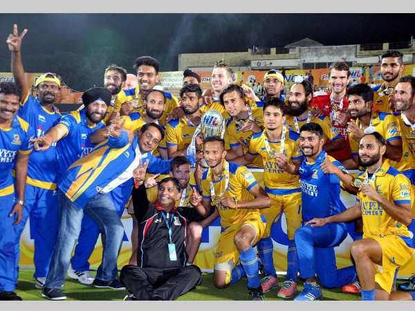 Punjab Warriors' players celebrate their title triumph